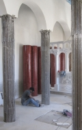 Early stage of installation of red scagliola columns ( 1 / 3 )