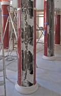 Early stage of installation of red scagliola columns ( 2 / 3 )