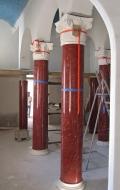 Installation of red scagliola columns