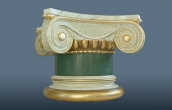 Small gilded scagliola column in antico verde