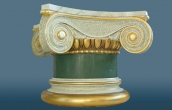 Small scagliola column with gilded details on the capital and the base