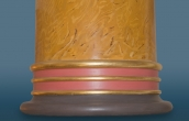 Close-up of base of big scagliola column with details of gilding