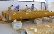 Manufacture of big scagliola columns