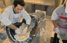Early stage of scagliola column manufacture