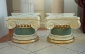 Pair of small scagliola columns in antico verde