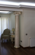 Front view of right scagliola column