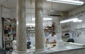Scagliola columns during construction
