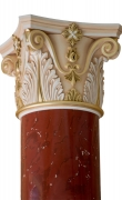 Gilded capital of red scagliola column