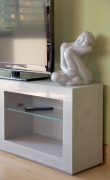 Close-up of Concrete look scagliola TV cabinet