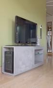 Left view of Concrete look scagliola TV cabinet
