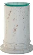 Glass top semi-white scagliola pedestal