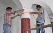 Installing capital of scagliola column