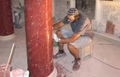 Scagliola column polishing