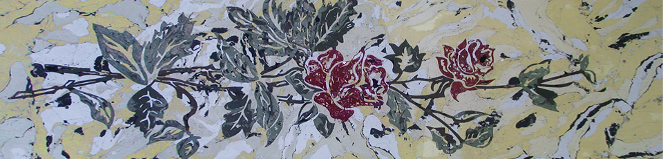 Scagliola inlay with decorative patterns