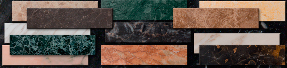 Samples of marbles for scagliola creations