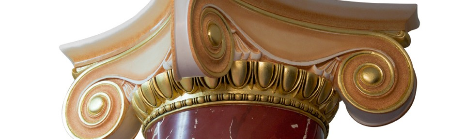 Red scagliola column with glided Ionic capital