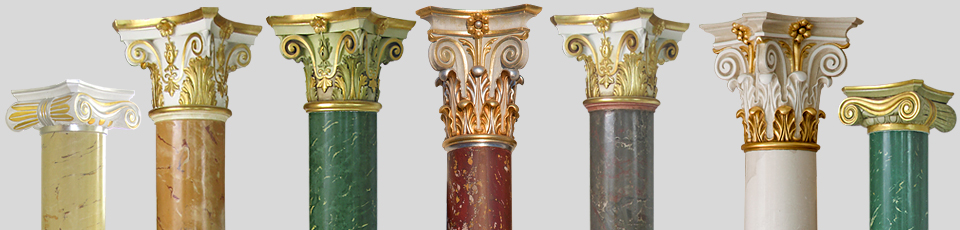 Various colors and styles of scagliola columns