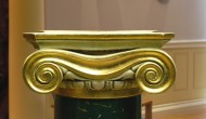 Green of Veria scagliola column with Ionic capital gilded