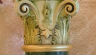 Green of Veria scagliola column with Corinthian capital gilded